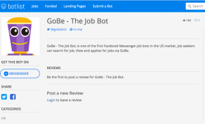 GoBe The Recruiting Chatbot on BotList