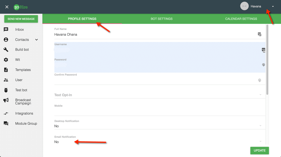 ProfileSettings - Email Notificaitons